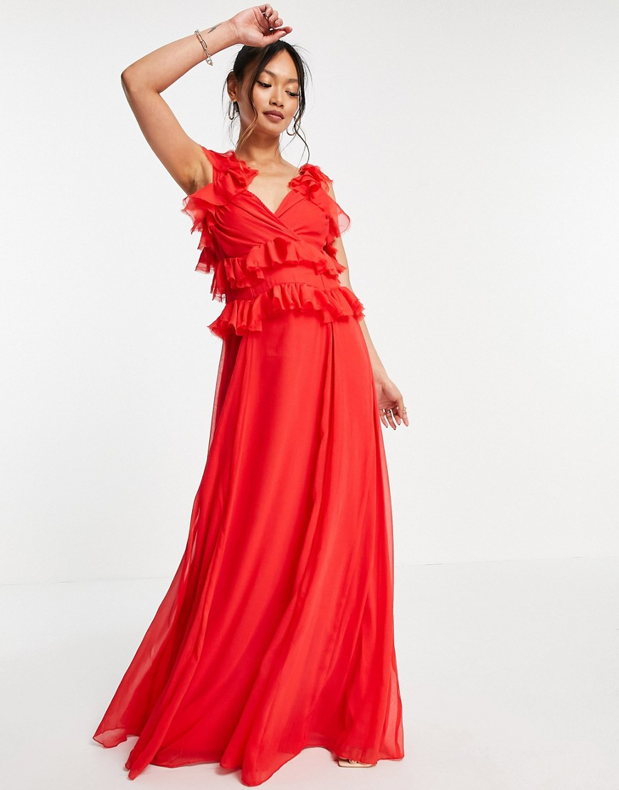 ASOS DESIGN tiered ruffle maxi dress with tie back in red-Multi