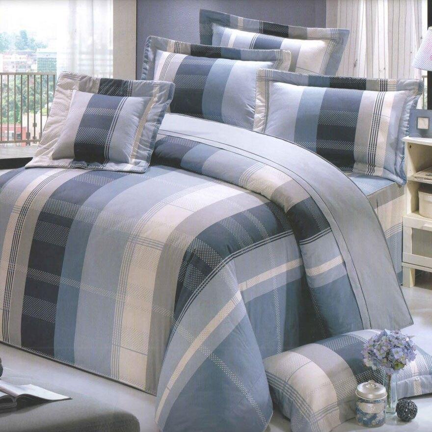【蓁妮絲 jennysilk】都會戀人(藍).100%精梳棉.標準雙人床罩組全套.居家寢具家飾【母親節推薦】