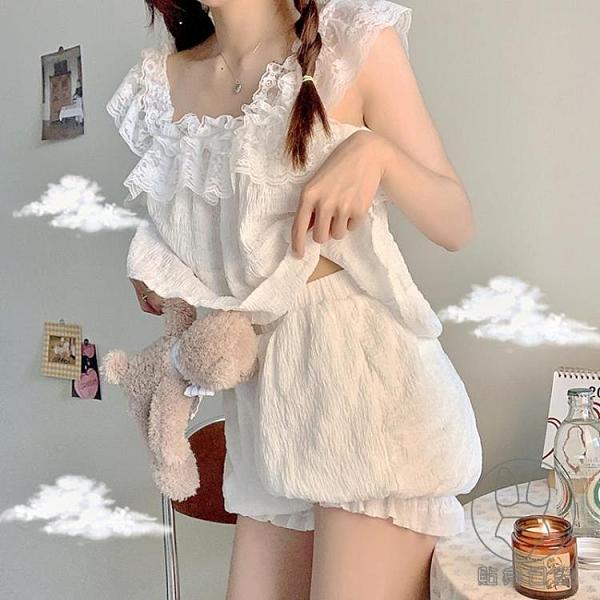 睡衣套裝女夏季可愛蕾絲吊帶家居服兩件套【貼身日記】