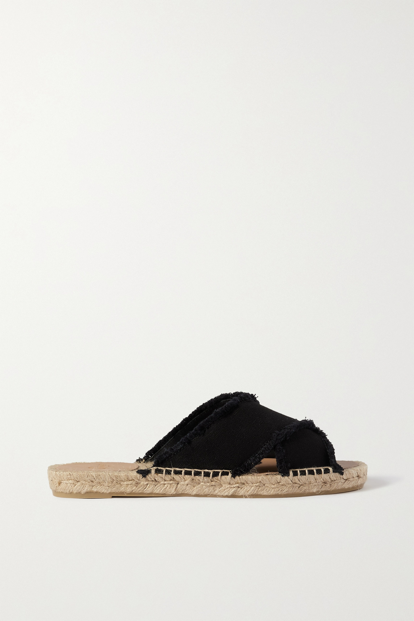 CASTAÑER - Palmera 毛边帆布麻底拖鞋 - 黑色 - IT36