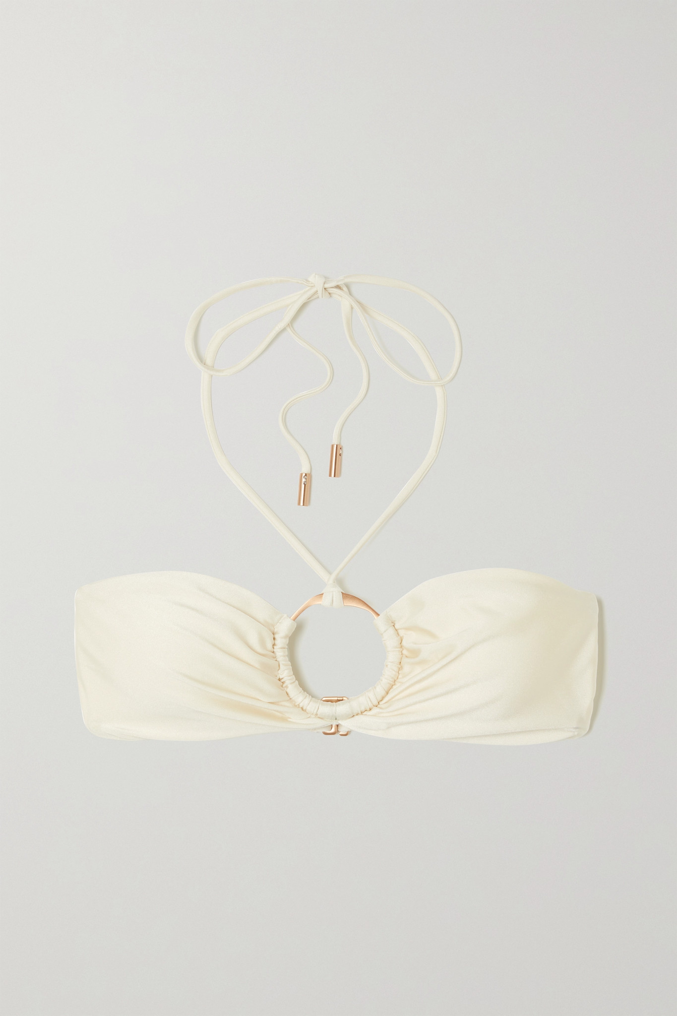 CULT GAIA - Myra 带缀饰挂脖比基尼上装 - 米白色 - medium