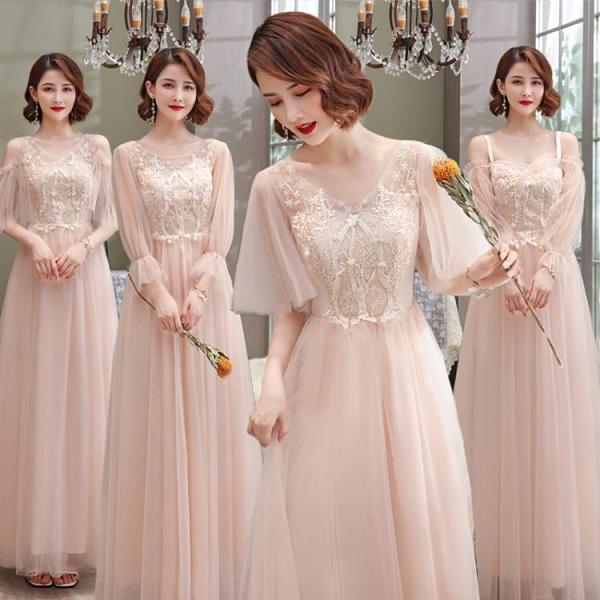 粉色伴娘服2021新款仙氣質伴娘禮服姐妹團簡約大方畢業禮服顯瘦 伊蘿 99免運