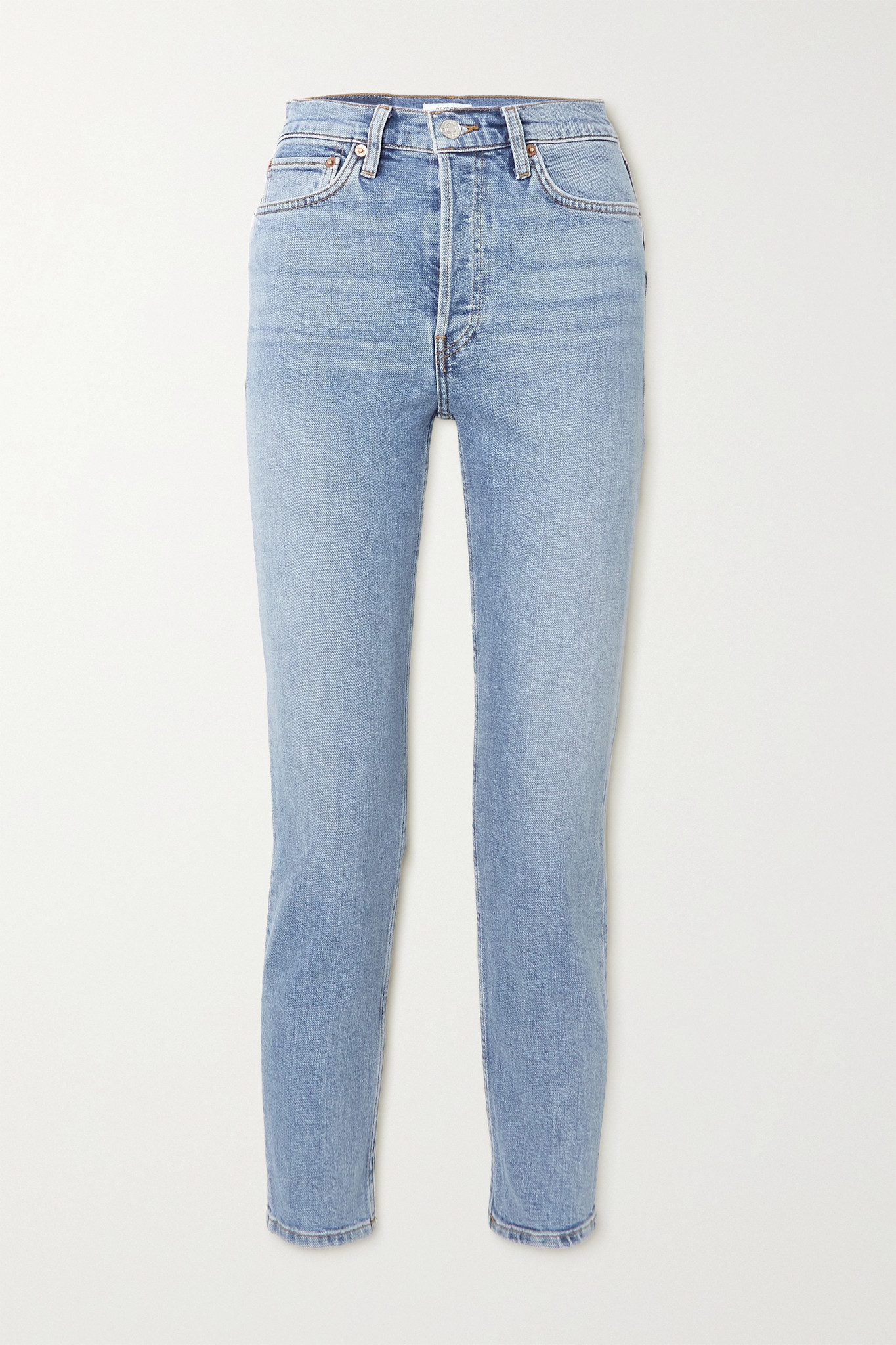 RE/DONE - 90s Comfort Stretch High-rise Ankle Crop Skinny Jeans - Blue - 30