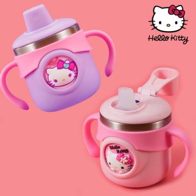 【優貝選】HELLO KITTY凱蒂貓立體圖案兒童用316不鏽鋼刻度牛奶杯/學習杯/吸管杯 260ML