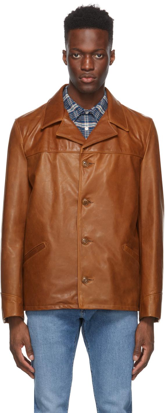 Schott 黄褐色 544 Car 皮革大衣