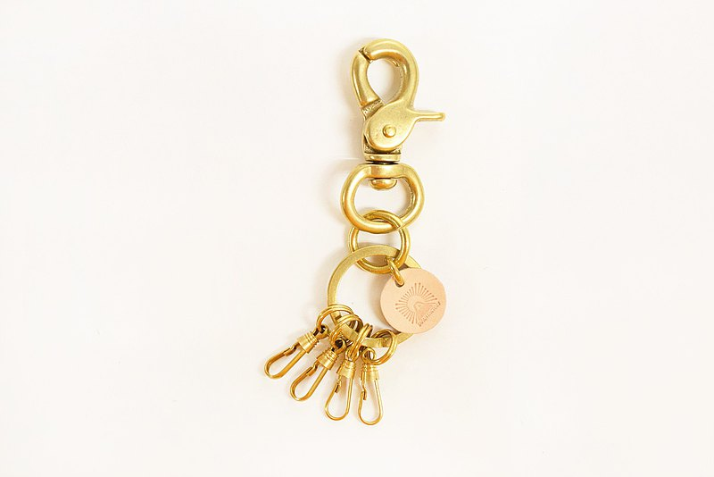 黃銅鑰匙鏈槓桿Naskan 4 ka Naskan鑰匙圈鑰匙盒黃色銅日本製造JAK041