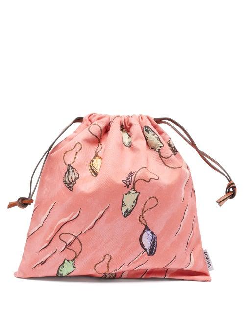 Loewe Paula's Ibiza - Shell-print Cotton-twill Drawstring Pouch - Womens - Pink Multi