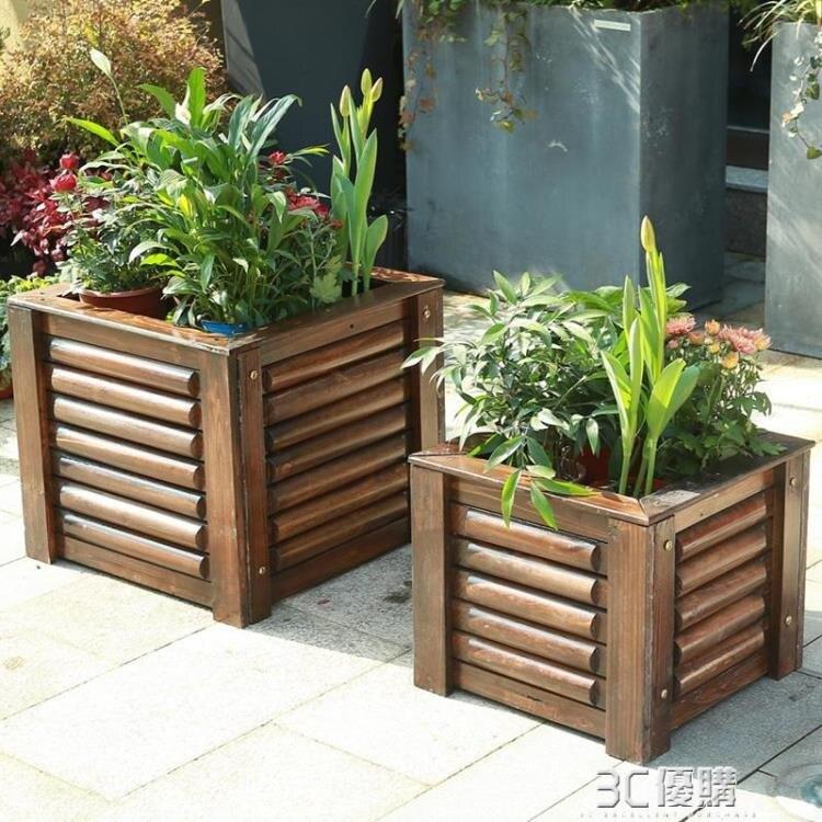 種植箱 戶外防腐木花箱正方形庭院種植箱室外碳化木花盆花槽特大號種樹盆