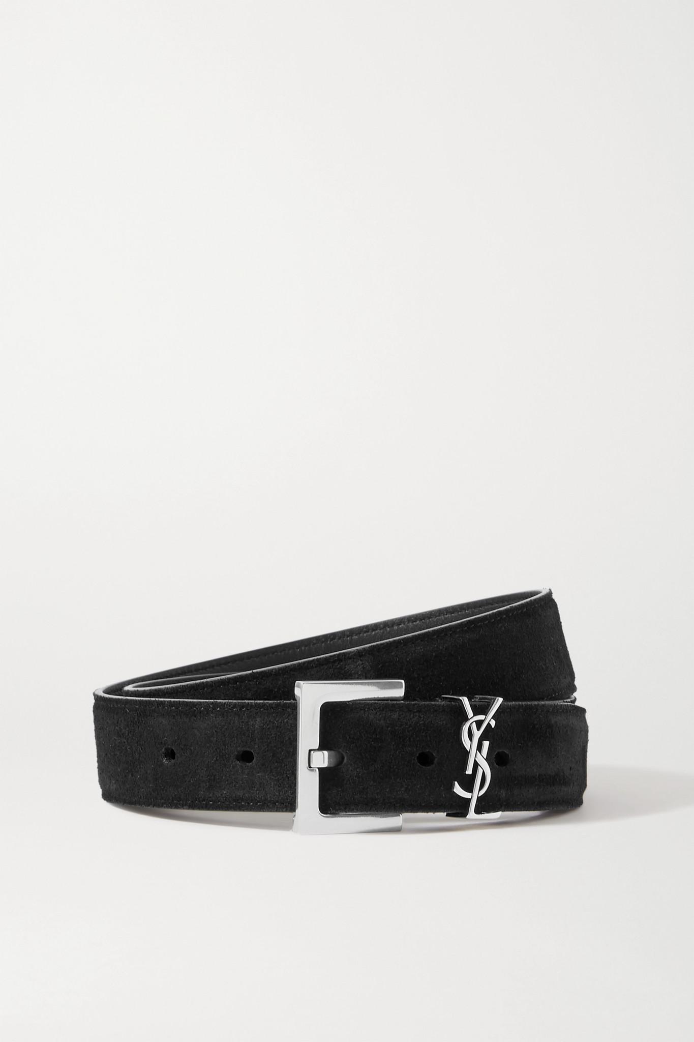 SAINT LAURENT - Monogramme 绒面革腰带 - 黑色 - 90