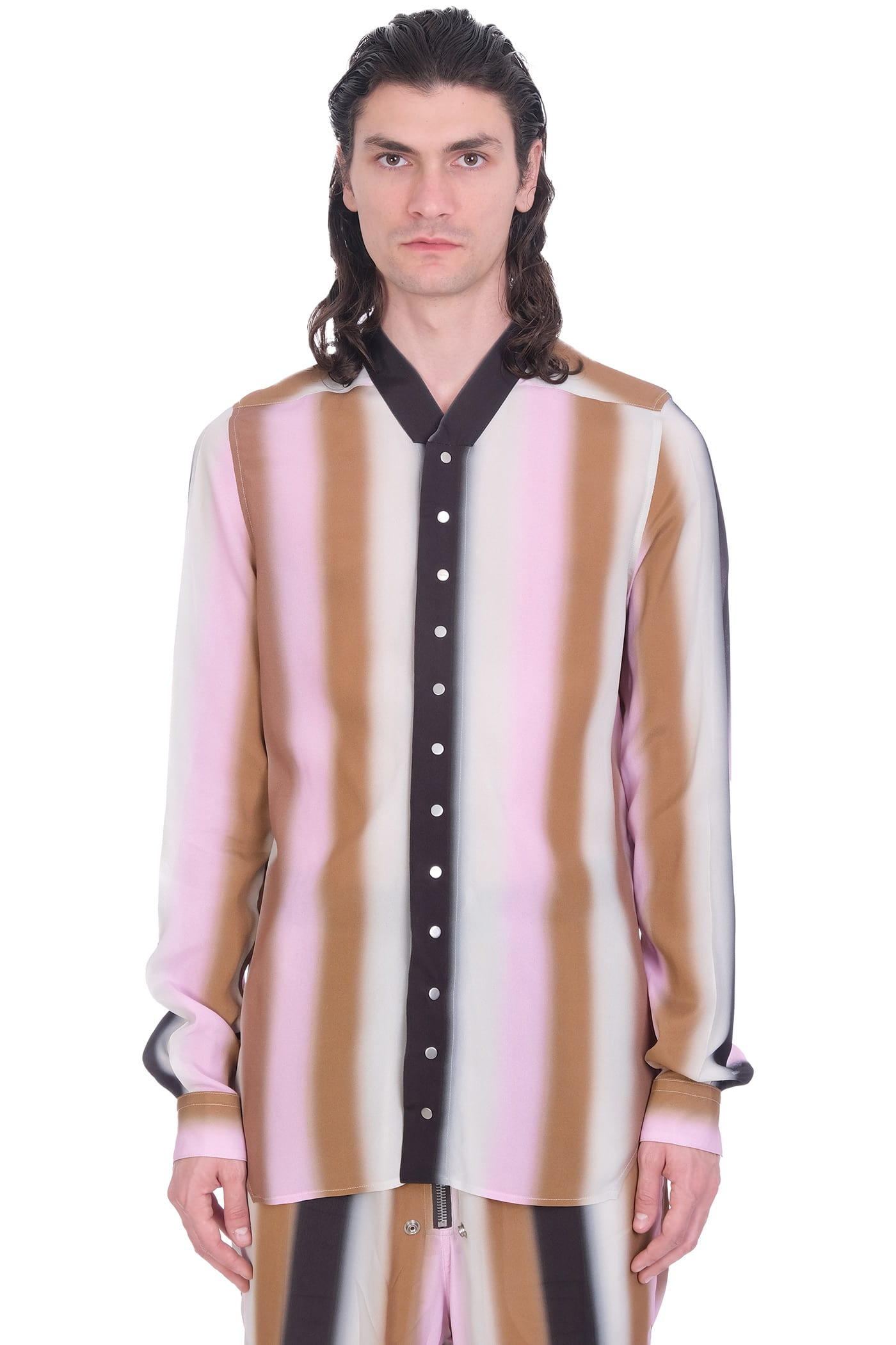 Rick Owens Snap Collar Fau Shirt In Rose-pink Polyamide