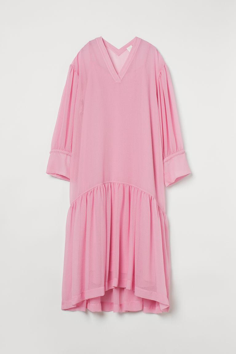 H & M - 雪紡洋裝 - 粉紅色