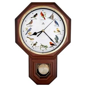 【鐘情坊 JUSTIME】典雅八角整點鳥鳴音樂擺錘掛鐘/台製紅雀仿深木紋