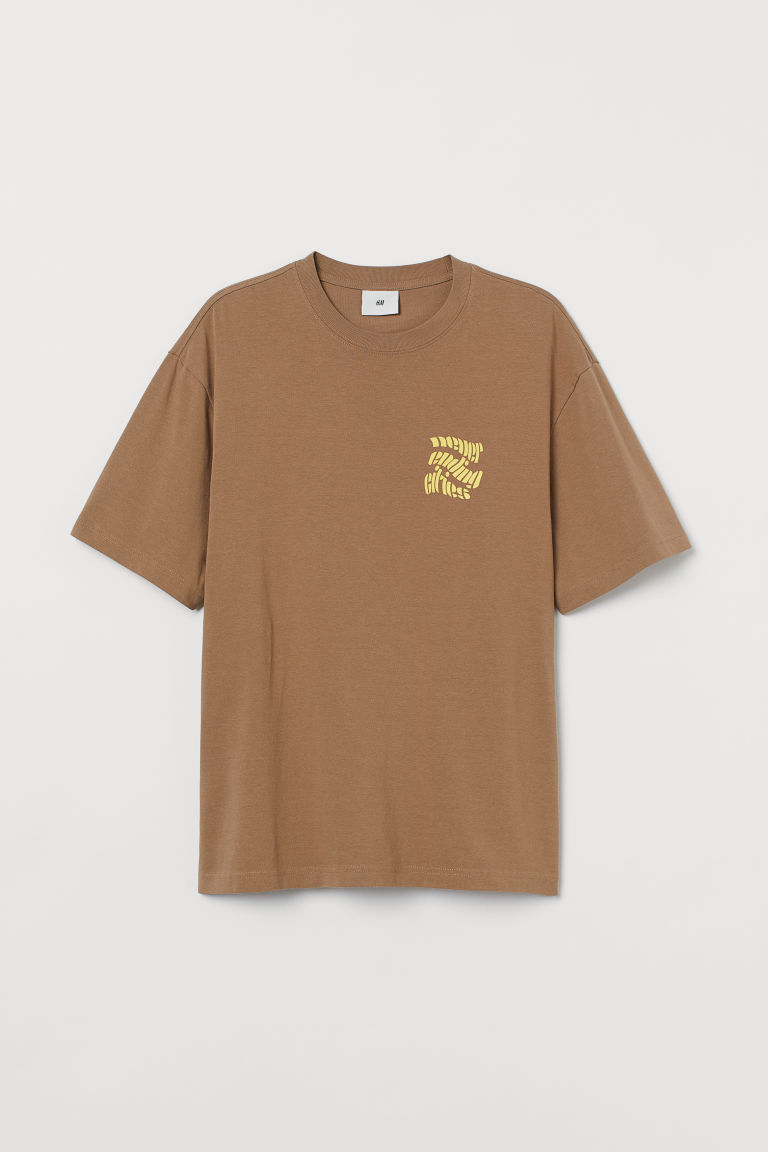H & M - 厚棉平紋T恤 - 褐色