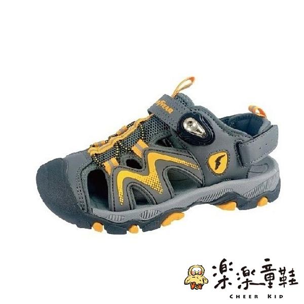 【樂樂童鞋】GOODYEAR大童機能涼鞋-灰黃 G009-3 - 女童鞋 男童鞋 涼鞋 大童鞋 大童涼鞋 兒童涼鞋