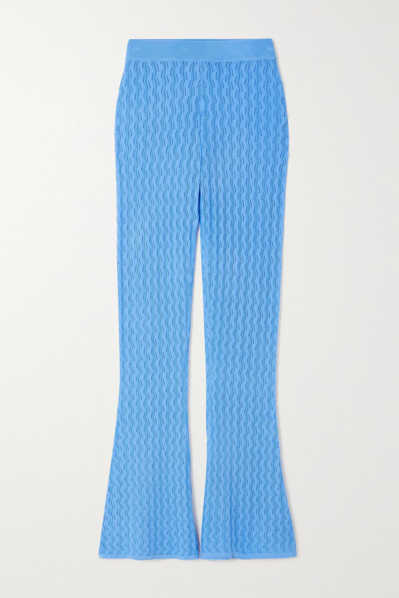 DODO BAR OR - Sophia 挑窿针织喇叭裤 - 蓝色 - IT40