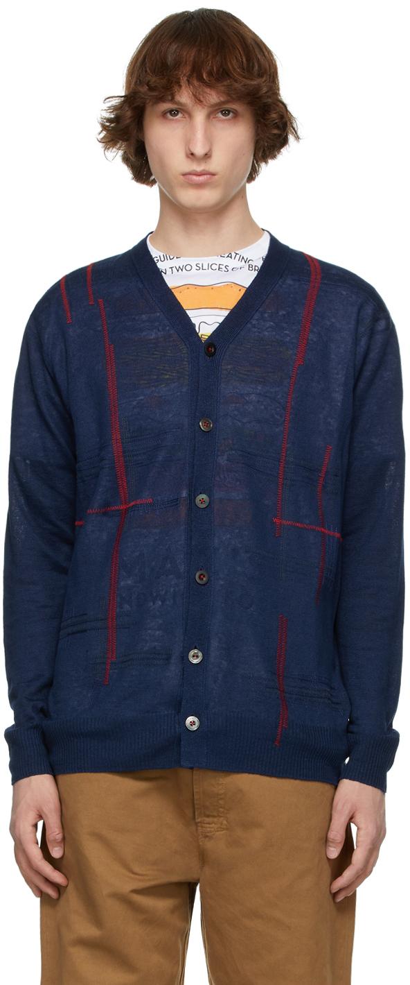 Junya Watanabe 海军蓝刺绣亚麻开衫