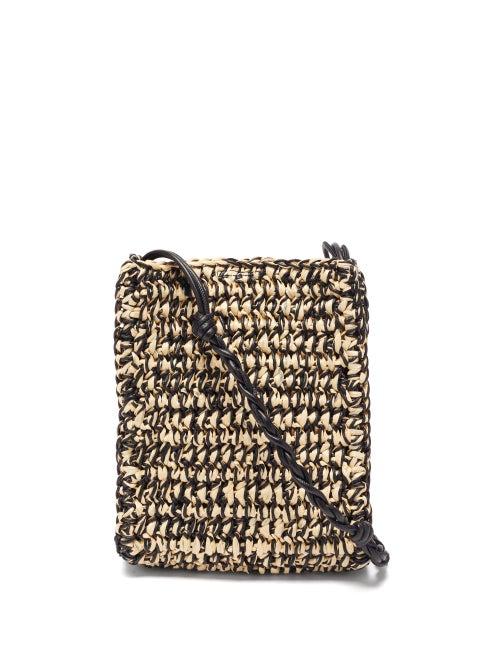 Jil Sander - Tangle Small Braided-strap Raffia Shoulder Bag - Womens - Black Multi