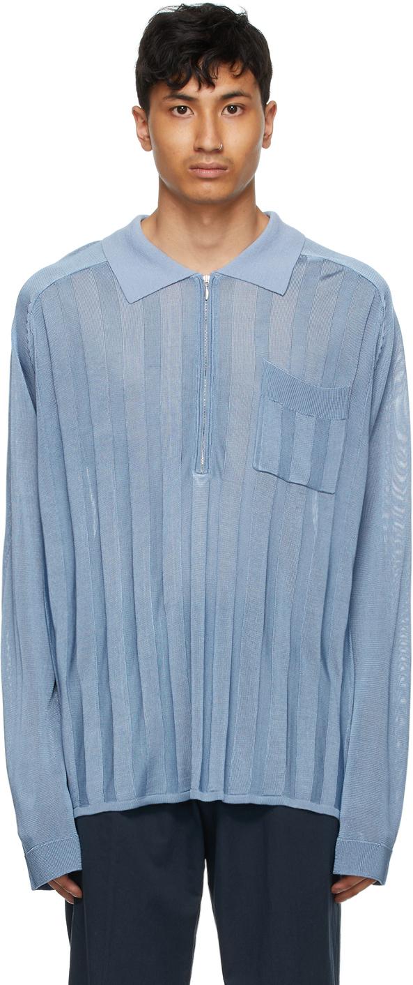 HOPE 蓝色 Soul 人造丝长袖 Polo 衫