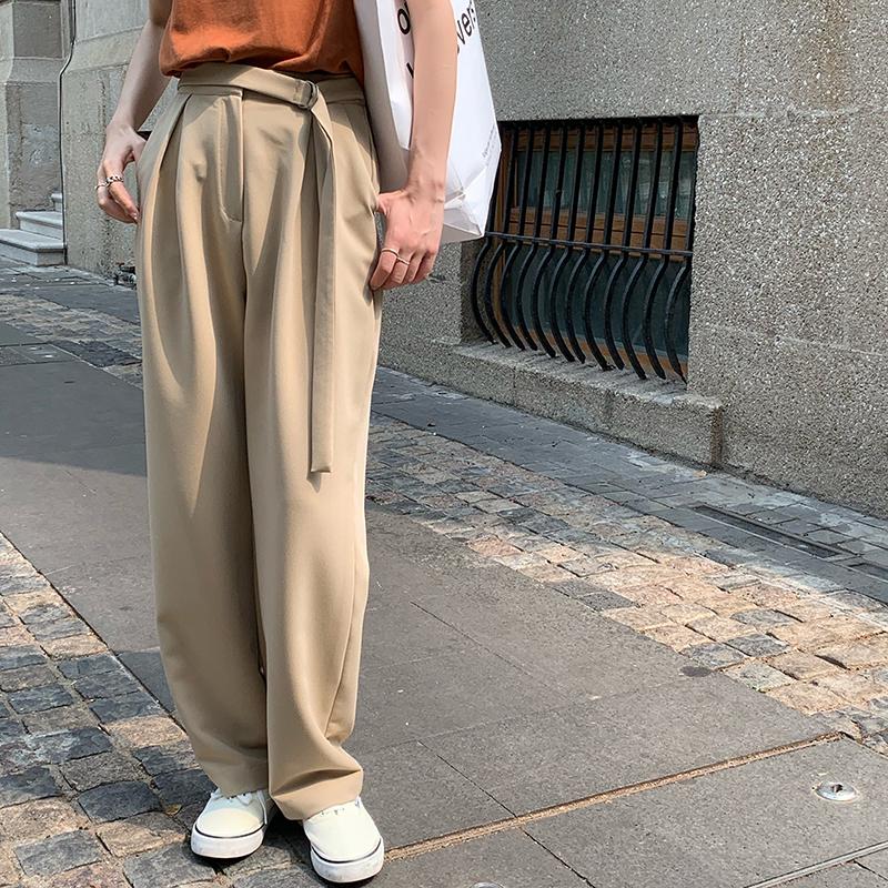 42625西裝褲垂感拖地顯瘦長褲