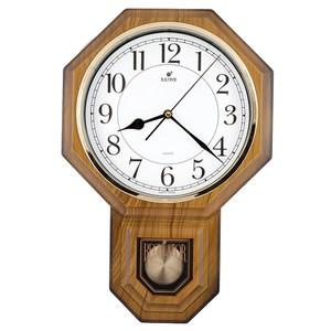 【JUSTIME 鐘情坊】復古典雅八角整點報時擺錘掛鐘/台製白底仿木紋
