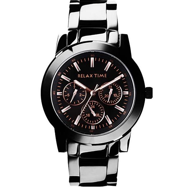 RELAX TIME 黑鋼三眼系列腕錶38mm(R0800-16-10)