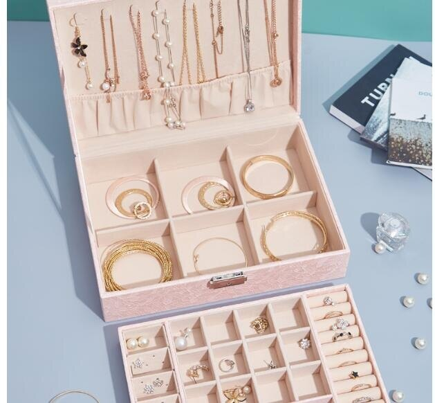 米斯語雙層大容量飾品收納盒手飾盒耳釘耳環戒指項錬創意首飾盒