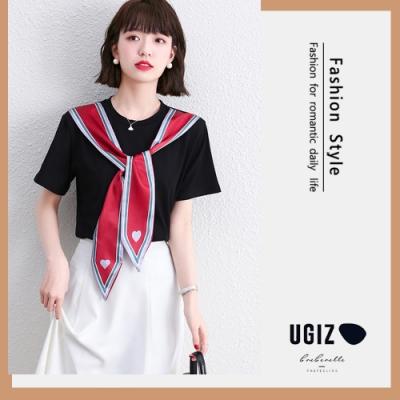 UGIZ-修身氣質圓領綁帶造型上衣-2色(M-XL)