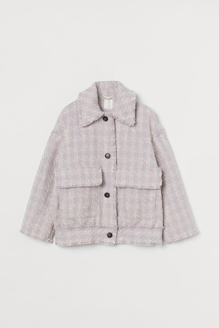 H & M - 紋理感平織外套 - 紫色