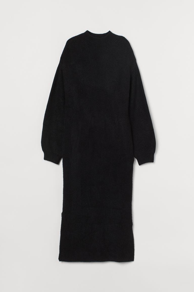 H & M - 羅紋針織洋裝 - 黑色