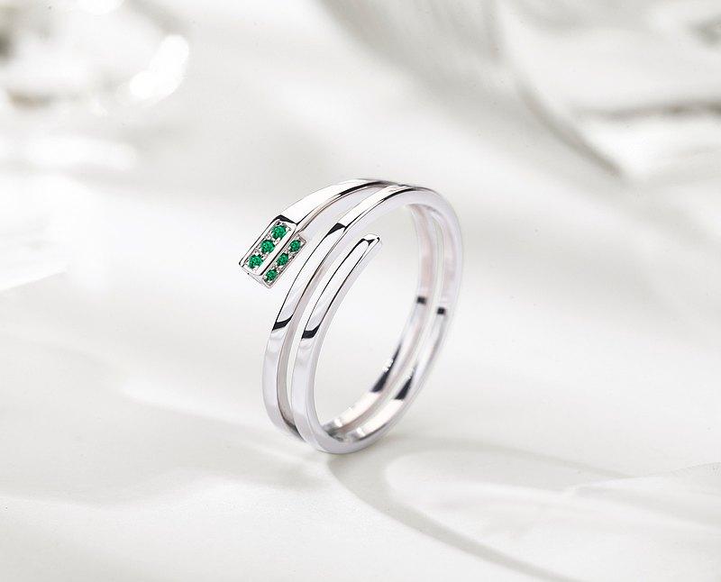 祖母綠14k金長方形訂婚戒指 另類環狀矩形求婚鑽戒 三圈結婚戒指
