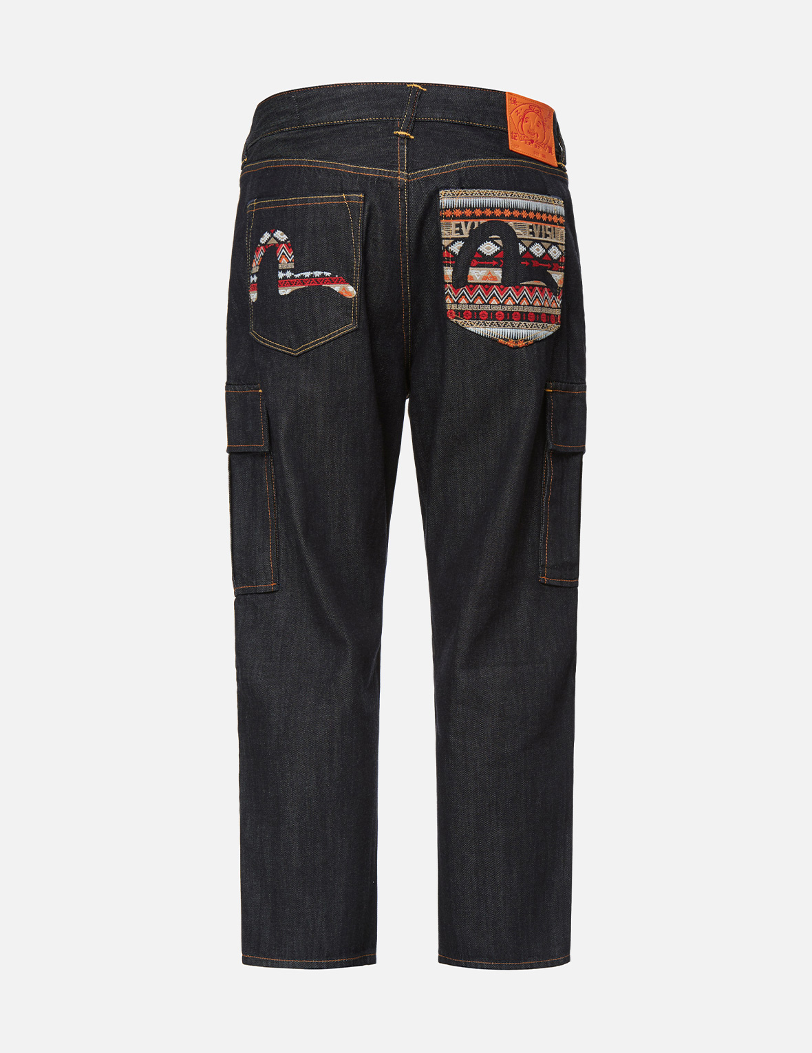 Folklore-pattern Seagull Embroidered Cargo Jeans