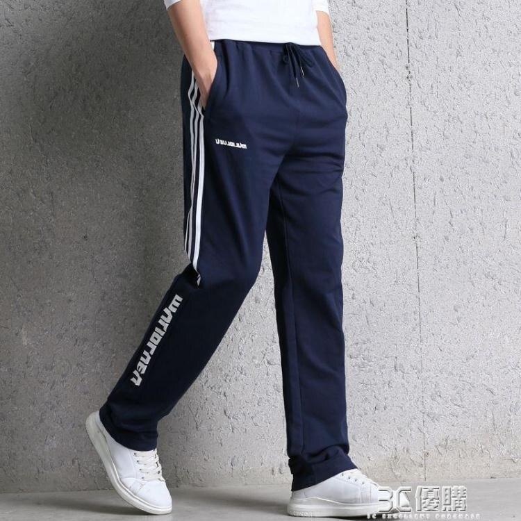 夏季新款青少年學生英文印花棉運動褲男寬鬆直筒休閒長褲子潮