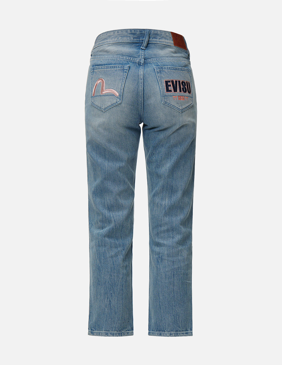 Seagull and Logo Embroidered Relax Fit Jeans