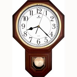 【JUSTIME 鐘情坊】復古典雅八角整點報時擺錘掛鐘/台製白底仿深木紋