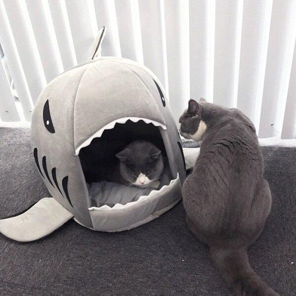 狗狗窩鯊魚窩四季寵物防滑貓咪窩墊泰迪狗床蒙古窩可拆洗睡袋貓窩【快速出貨】
