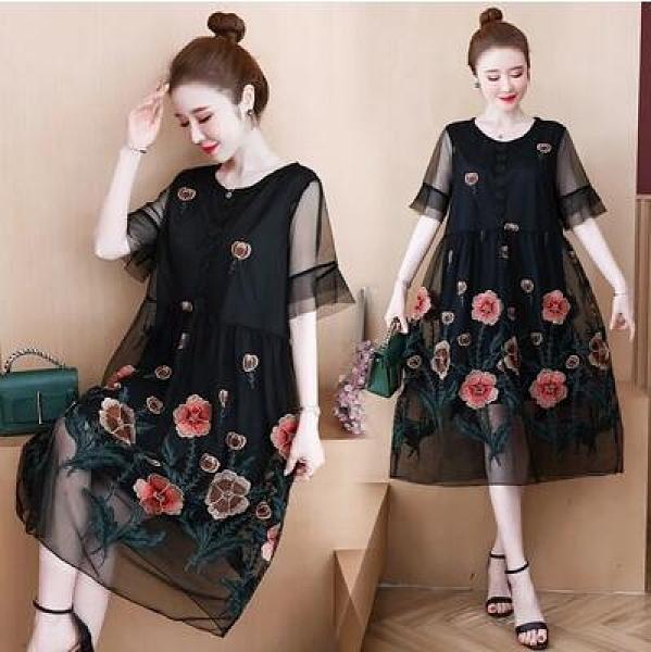 XL-5XL胖妹妹大碼套裝兩件套~大碼女裝200斤洋氣重工刺繡顯瘦連身裙7437.2F088愛尚布衣