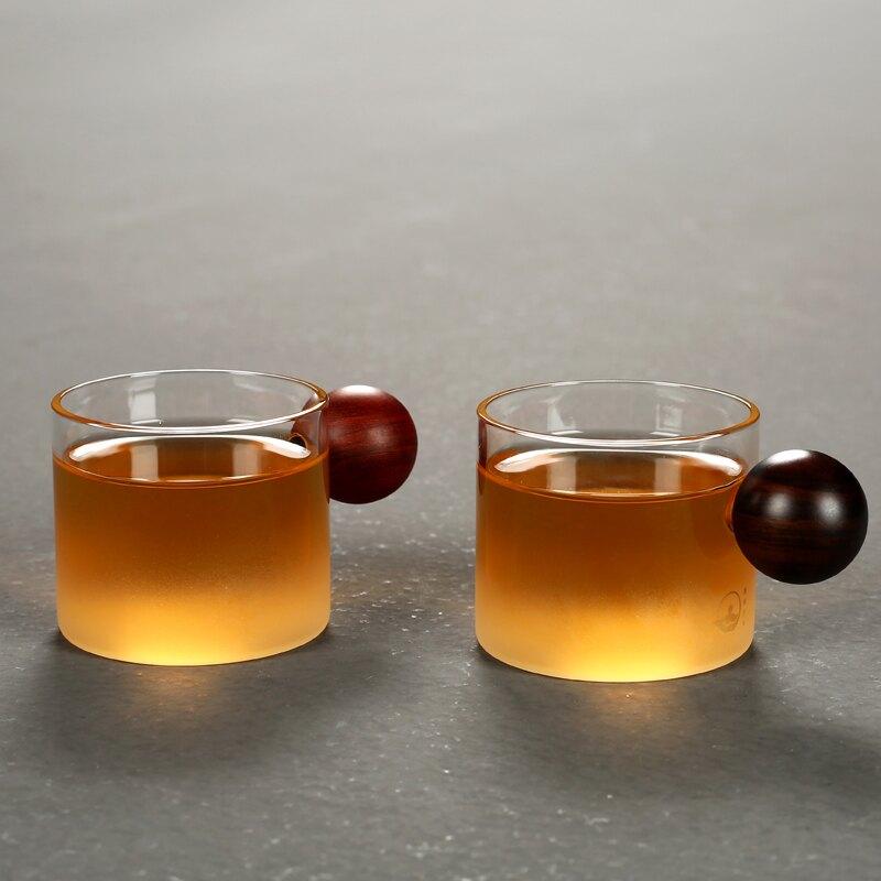 傳藝窯耐熱透明玻璃杯黑檀木泡茶杯喝茶杯帶木手把防燙杯子家用