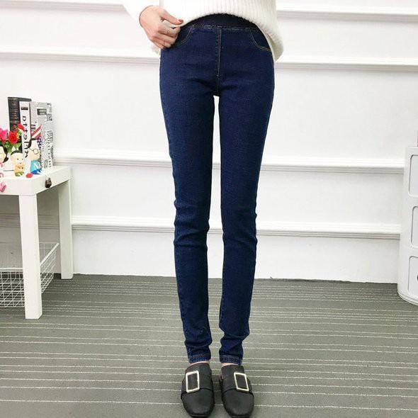牛仔褲 長褲 休閒褲 中大尺碼XL-5XL加大碼長褲小脚鬆緊腰彈力修身R11.576胖胖美依