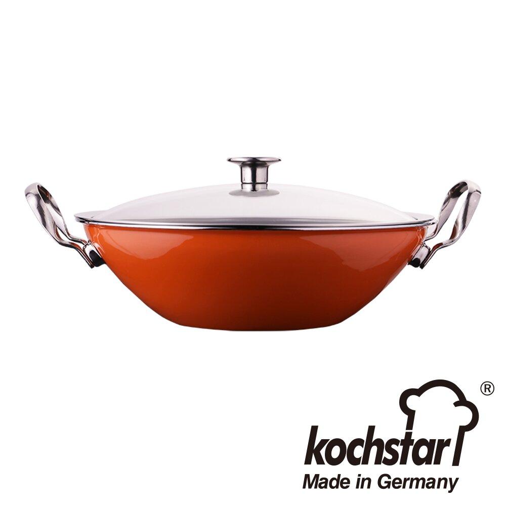 《德國Kochstar》珂士德采晶30cm雙耳炒鍋 橘 KSNW-30O