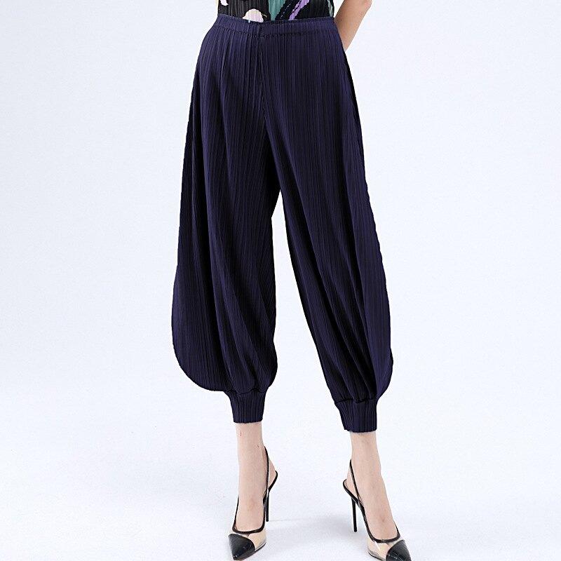 燈籠褲皺褶休閒褲-高彈力寬鬆束腳經典女褲子5色73zz4【獨家進口】【米蘭精品】