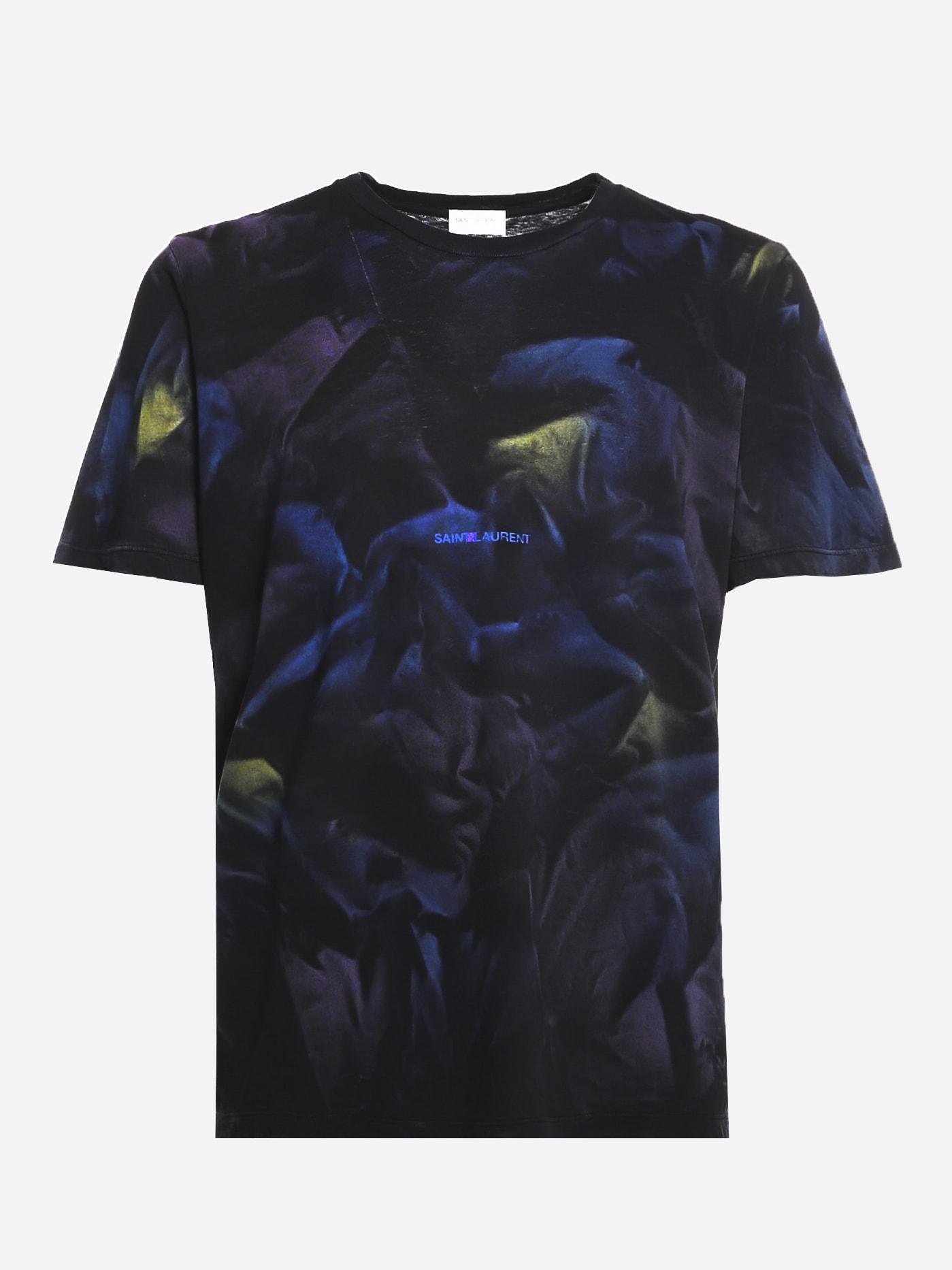 Saint Laurent Cotton T-shirt With All-over Tie-dye Print