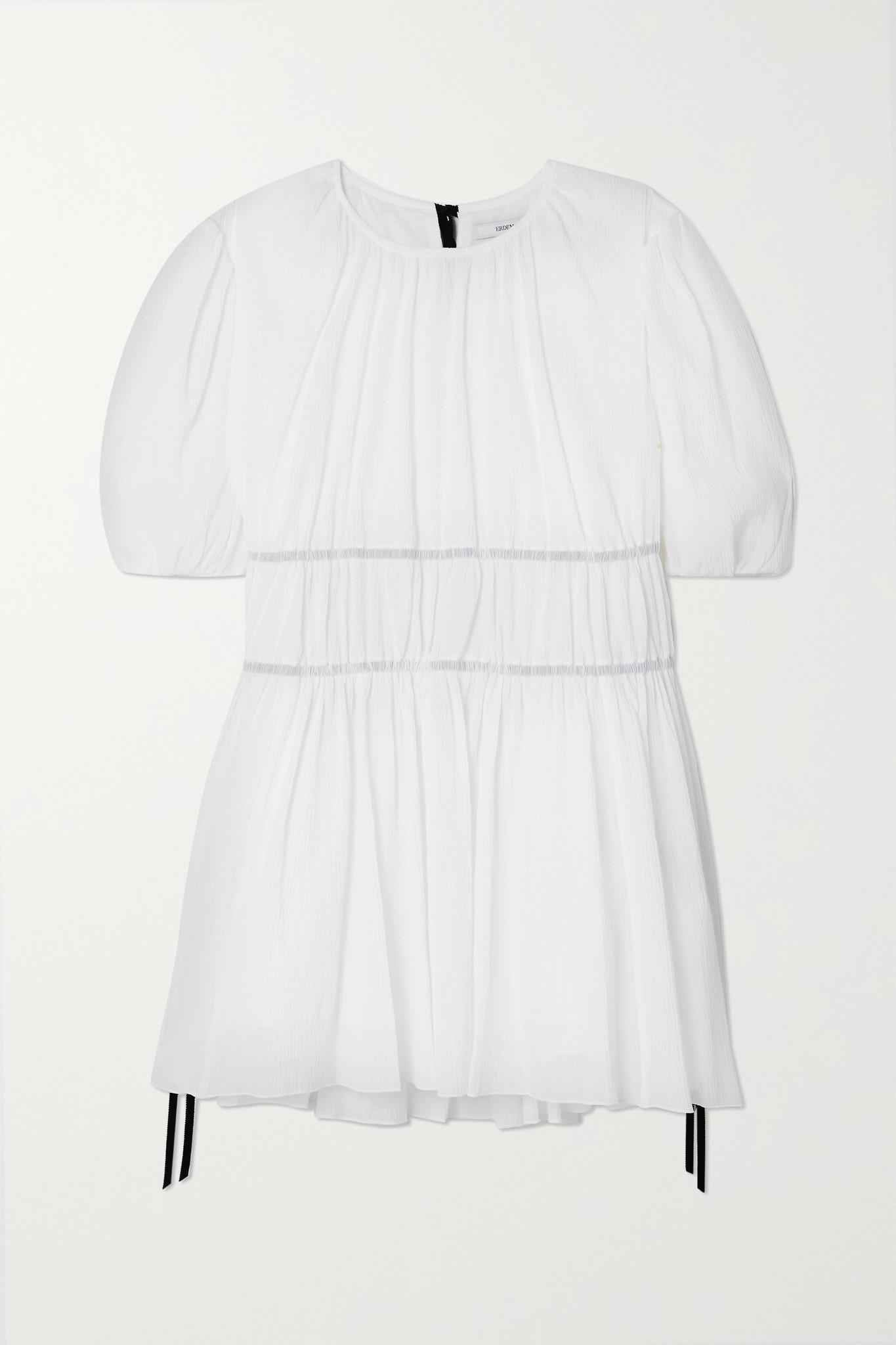 ERDEM - Lilwen 缩褶顺纡绉女衫 - 白色 - UK8