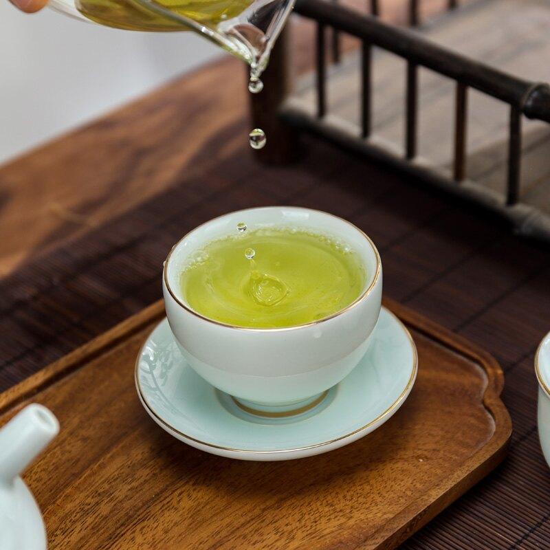 青瓷描金高檔主人杯客杯專用杯子品茗杯陶瓷功夫單杯青瓷杯墊茶杯