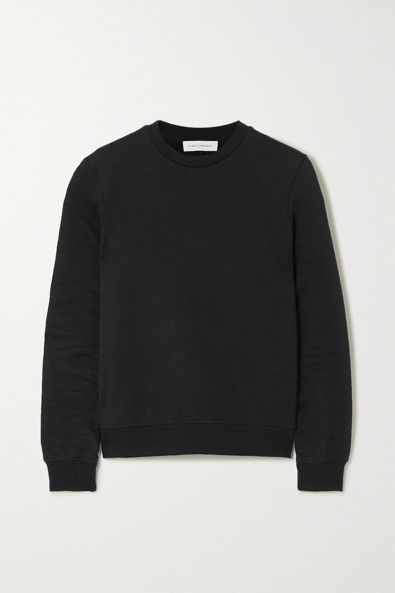 NINETY PERCENT - 【net Sustain】stephanie 有机纯棉毛巾布卫衣 - 黑色 - x small