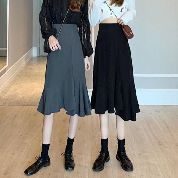 魚尾裙 不規則黑色魚尾半身裙女春裝2021新款高腰顯瘦A字裙包臀中長裙子 韓國時尚週