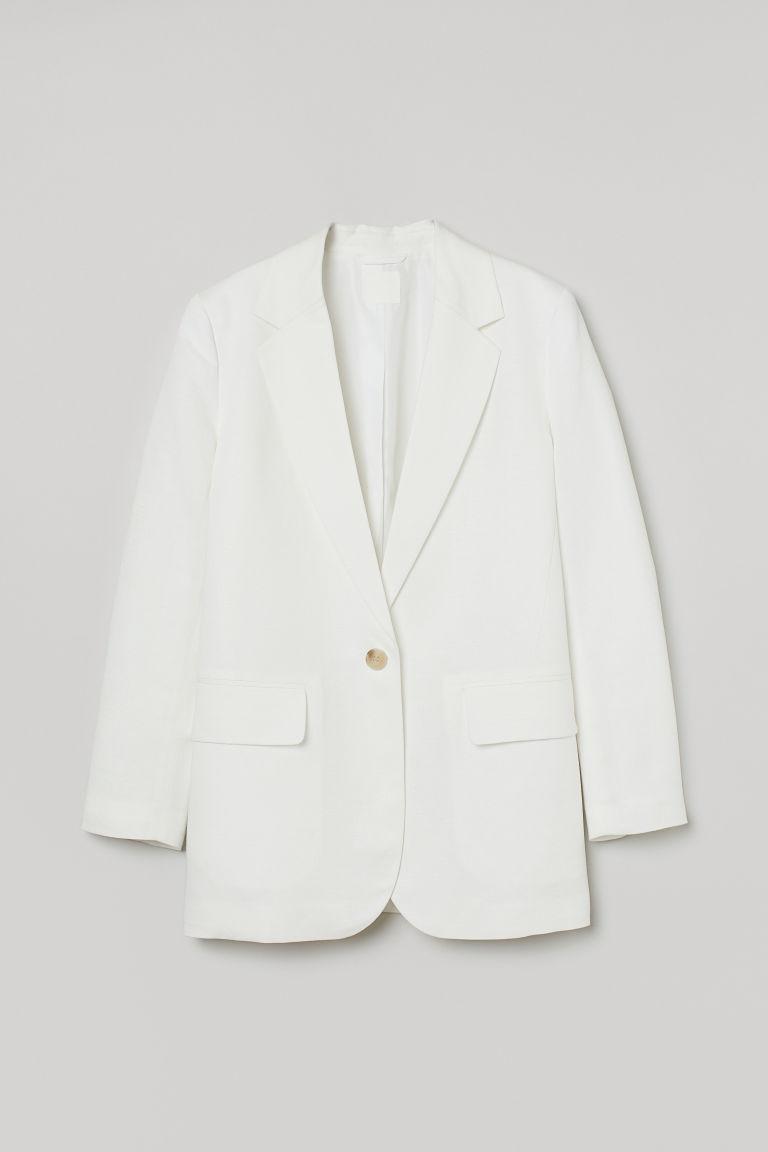 H & M - 加大碼亞麻混紡外套 - 白色