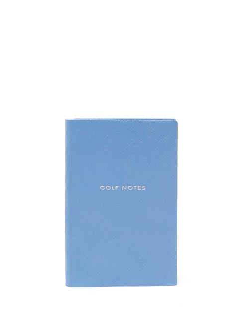 Smythson - Panama Golf Notes Leather Notebook - Mens - Blue