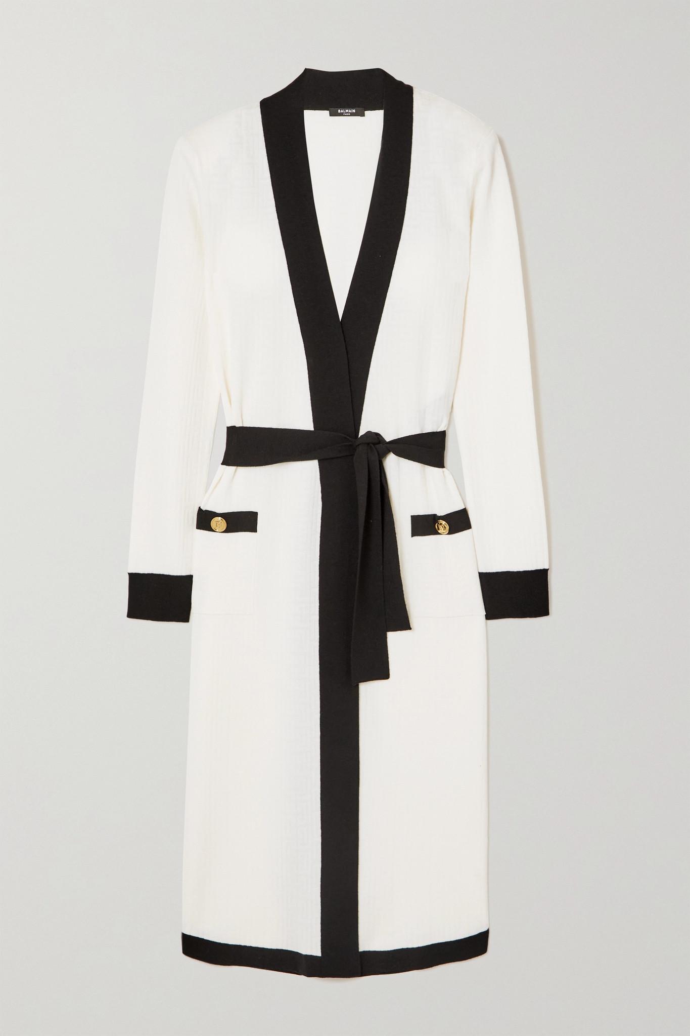 BALMAIN - 配腰带双色提花针织羊毛混纺开襟衫 - 白色 - FR36