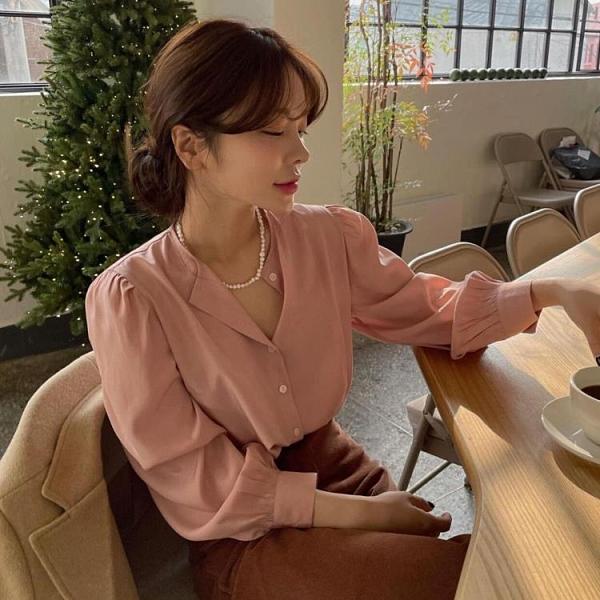 雪紡洋裝 韓國chic春款法式高級小開領時尚單排扣洋氣寬松百搭泡泡袖襯衫女 歐歐