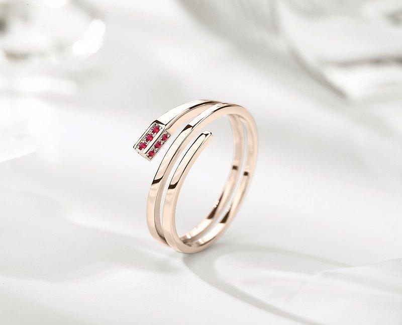 紅寶石14k金長方形訂婚戒指 另類環狀矩形求婚鑽戒 三圈結婚戒指